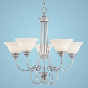 Fulton Rubbed Silver Five-Light Chandelier with Etched White Glass