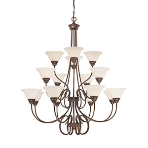 Fulton Rubbed Bronze Sixteen-Light Chandelier with Etched White Glass