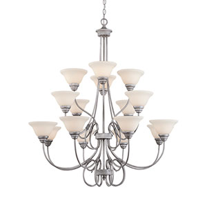 Fulton Rubbed Silver Sixteen-Light Chandelier with Etched White Glass