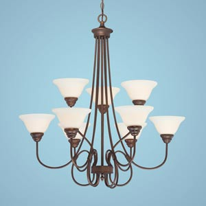 Fulton Rubbed Bronze Nine-Light Chandelier with Etched White Glass