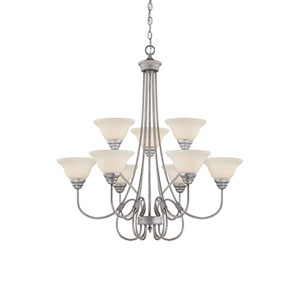 Fulton Rubbed Silver Nine-Light Chandelier with Etched White Glass
