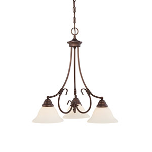 Fulton Rubbed Bronze Three-Light Chandelier with Etched White Glass