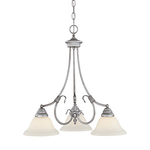 Fulton Rubbed Silver Three-Light Chandelier with Etched White Glass