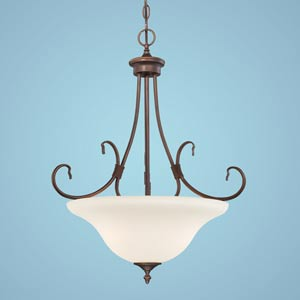 Fulton Rubbed Bronze Three-Light Pendant with Etched White Glass