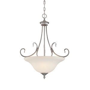 Fulton Rubbed Silver Three-Light Pendant with Etched White Glass