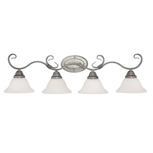Rubbed Silver Four-Light Bath Fixture w/ Etched White Glass