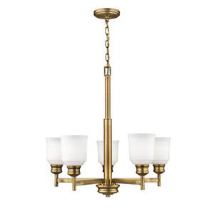 Burbank Heirloom Bronze Five-Light Chandelier with Etched White Glass