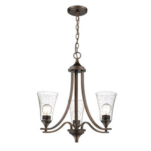 Natalie Rubbed Bronze Three-Light Chandelier with Clear Seeded Glass
