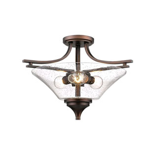 Natalie Bronze Three-Light Semi-Flush Mount with Clear Seeded Glass