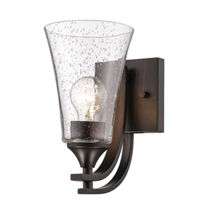 Natalie Rubbed Bronze One-Light Wall Sconce with Clear Seeded Glass