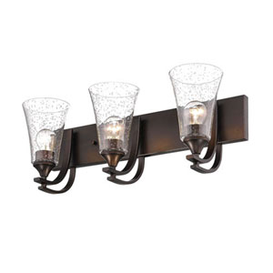 Natalie Rubbed Bronze Three-Light Vanity with Clear Seeded Glass