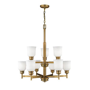Burbank Heirloom Bronze Nine-Light Chandelier with Etched White Glass