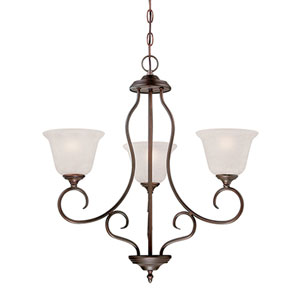 Cleveland Rubbed Bronze Three Light Chandelier with Light India Scavo Glass