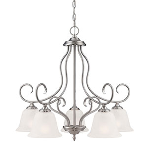 Cleveland Satin Nickel Five Light Chandelier with Light India Scavo Glass
