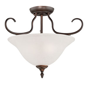 Cleveland Rubbed Bronze Two Light Semi-Flush Fixture with Light India Scavo Glass