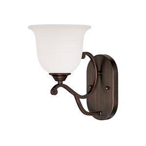 Courtney Lakes Rubbed Bronze 12.5 x 7-Inch One Light Sconce with Turinian Scavo Glass