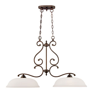 Courtney Lakes Rubbed Bronze Two Light Island with Turinian Scavo Glass