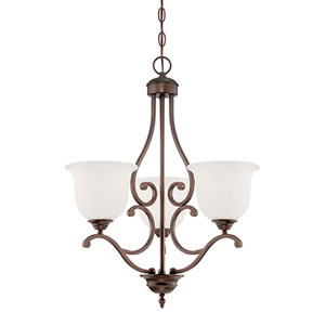 Courtney Lakes Rubbed Bronze Three Light Chandelier with Turinian Scavo Glass