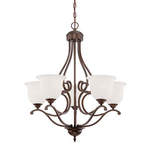 Courtney Lakes Rubbed Bronze 30 x 27-Inch Five Light Chandelier