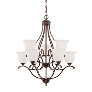 Courtney Lakes Rubbed Bronze Nine Light Chandelier with Etched White Glass