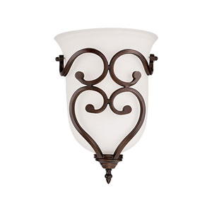 Courtney Lakes Rubbed Bronze One Light Sconce with Turinian Scavo Glass