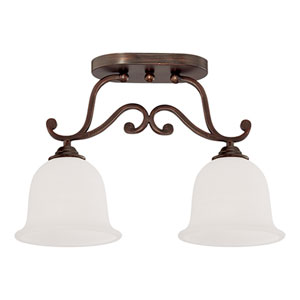Courtney Lakes Rubbed Bronze Two Light Semi-Flush Fixture with Turinian Scavo Glass