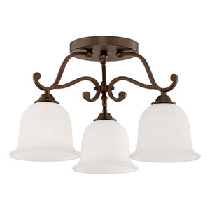 Courtney Lakes Rubbed Bronze 12 x 20-Inch Three Light Semi-Flush Fixture with Turinian Scavo Glass