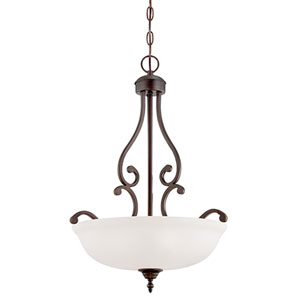 Courtney Lakes Rubbed Bronze 24 x 18-Inch Three Light Pendant with Turinian Scavo Glass