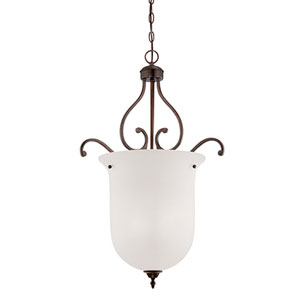 Courtney Lakes Rubbed Bronze Three Light Pendant with Turinian Scavo Glass