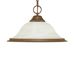 Bronze One-Light Pendant with Faux Alabaster Glass