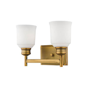 Burbank Heirloom Bronze Two-Light Vanity with Etched White Glass