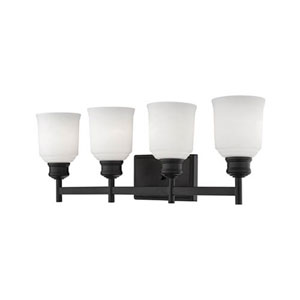 Burbank Matte Black Four-Light Vanity with Etched White Glass