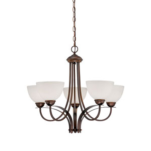 Rubbed Bronze 23.5-Inch Five-Light Chandelier with Etched White Glass