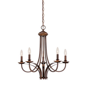 Rubbed Bronze 24-Inch Five-Light Chandelier