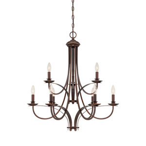 Rubbed Bronze 28-Inch Nine-Light Chandelier