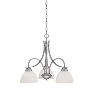 Brushed Pewter 24-Inch Three-Light Chandelier with Etched White Glass