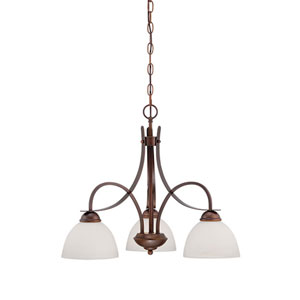 Rubbed Bronze 24-Inch Three-Light Chandelier with Etched White Glass