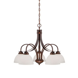 Rubbed Bronze 27.5-Inch Five-Light Chandelier with Etched White Glass
