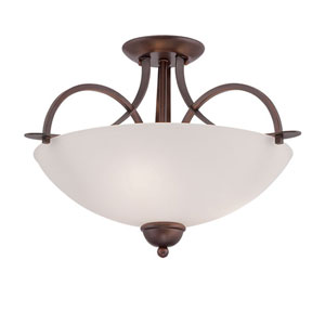 Rubbed Bronze 19.5-Inch Three-Light Semi-Flush Mount with Etched White Glass