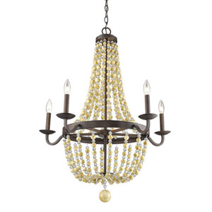 Victoria Rubbed Bronze Five-Light Chandelier