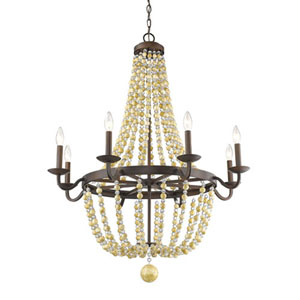 Victoria Rubbed Bronze Eight-Light Chandelier