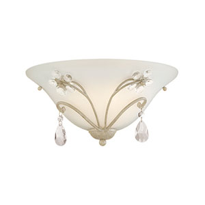 Clara Antique White One Light Sconce with Etched White Glass