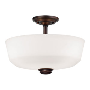 Cimmaron Rubbed Bronze Two Light Semi-Flush Fixture with Etched White Glass