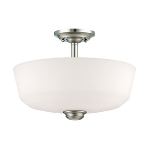 Cimmaron Satin Nickel Two Light Semi-Flush Fixture with Etched White Glass