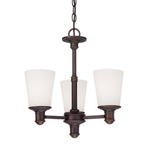 Cimmaron Rubbed Bronze Three Light Mini Chandelier with Etched White Glass
