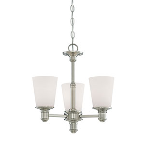 Cimmaron Satin Nickel Three Light Mini Chandelier with Etched White Glass