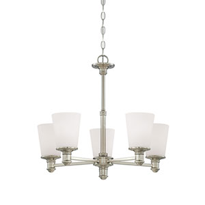 Cimmaron Satin Nickel Five Light Chandelier with Etched White Glass