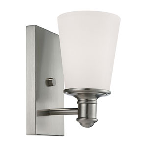 Cimmaron Satin Nickel One Light Sconce with Etched White Glass