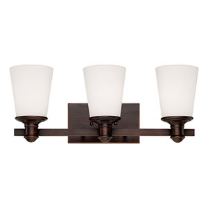 Cimmaron Rubbed Bronze Three Light Vanity Fixture with Etched White Glass