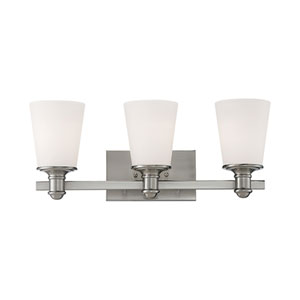 Cimmaron Satin Nickel Three Light Vanity Fixture with Etched White Glass